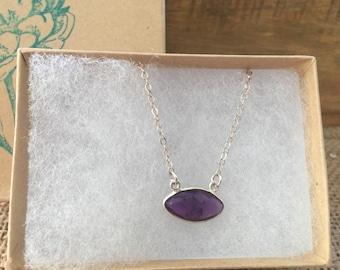 Amethyst bezel necklace/bezel necklace