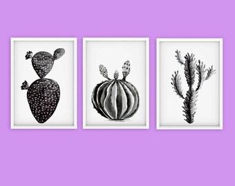 Set of 3 Watercolor Cactus Print, Succulent Print, Cactus Art Print, Watercolor Print, Home Decor, Digital Print, Mexican Flora