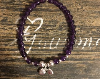 Amethyst with sterling silver double heart charm