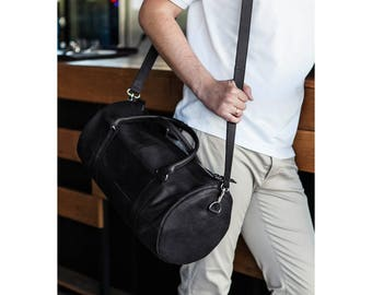 Leather bag for gym, leather duffle bag, bag for trips, sports bag for gym, black bag for gym, leather bag for men, bag for gym,