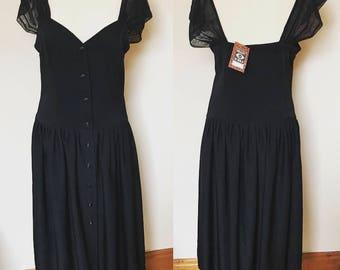 Vintage 90s Black Drop Waist Dress - UK Size 14 - 16/US Size 10 - 12