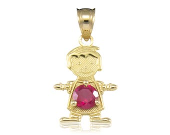 14K Solid Yellow Gold Cubic Zirconia Birthstone Boy Pendant - Any Color Necklace Charm