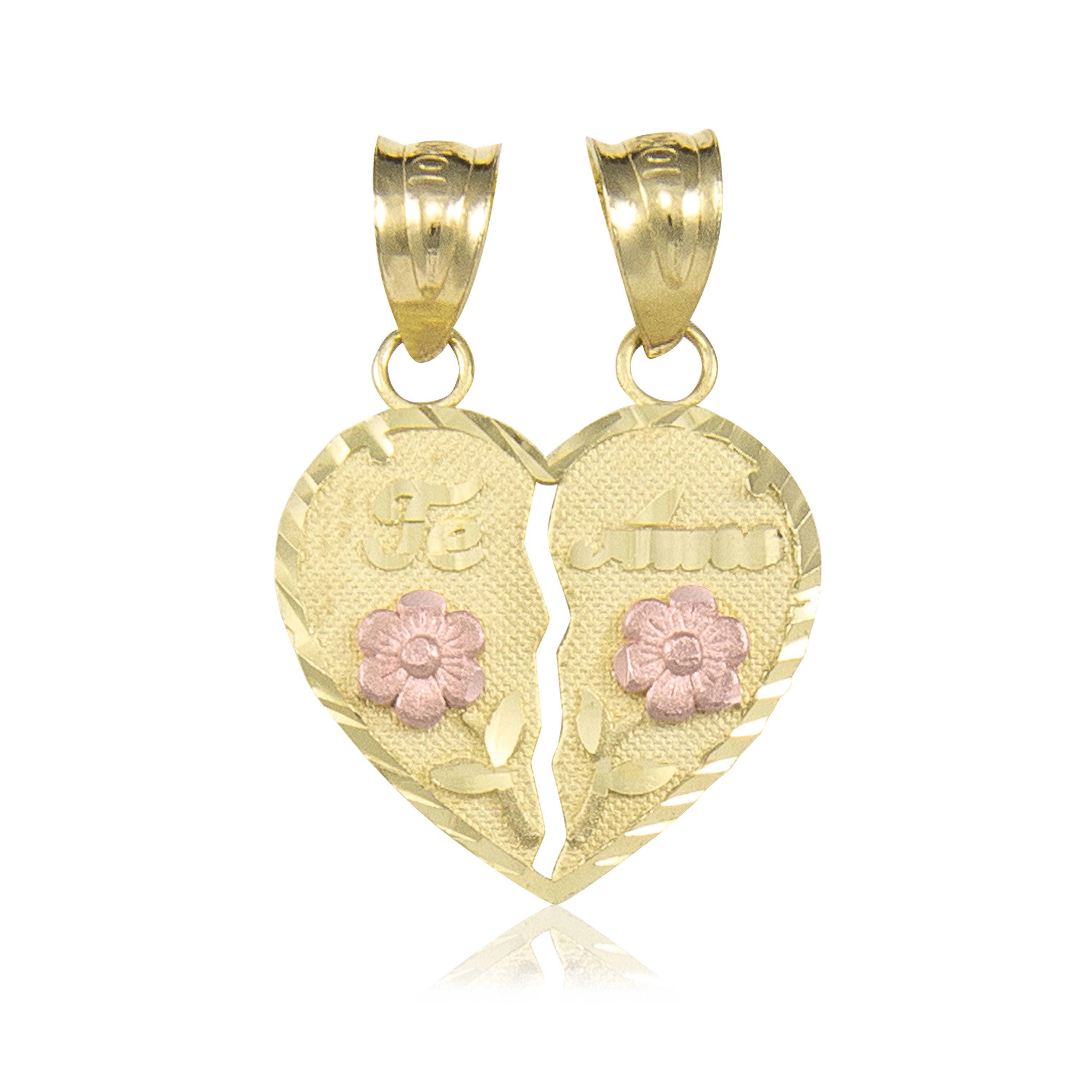 10k solid yellow rose gold te amo half heart pendant love flower 10k solid yellow rose gold te amo half heart pendant love flower necklace charm mozeypictures Images