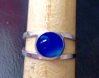 Blue agate ring, silver agate ring, double band, one of a kind, blue agate ring, agate jewellery, agate ring, blue ring, soothing crystal