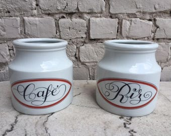Vintage containers of Coffee and Rice - French porcelain Jacques Lobjoy