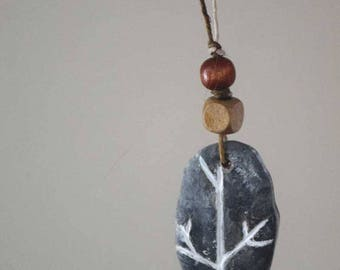 Branched etched clay necklace