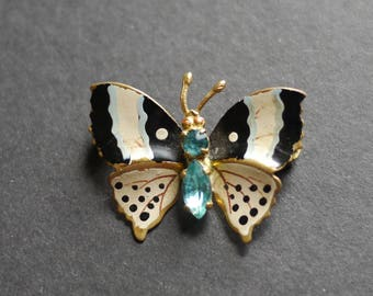 Painted enamel vintage butterfly brooch with pale blue rhinestones