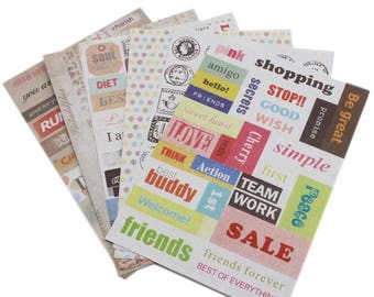 6-piece sticker set stickers vintage divided into various sizes and designs