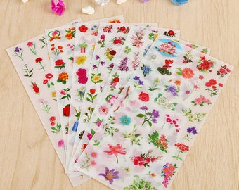 Stickers 6 sheets set beautiful flowers