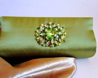 Green Satin Rhinestone Clutch, Large Olive Green Evening Clutch, Prom, Unique Classy Purse, Statement Clutch, Unique Gift Idea, Wedding