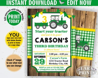 INSTANT DOWNLOAD / edit yourself now / Birthday Invitation / Tractor / Birthday Invite / Yellow / Woodland / Green / Plaid / Boy / Farm BDT6