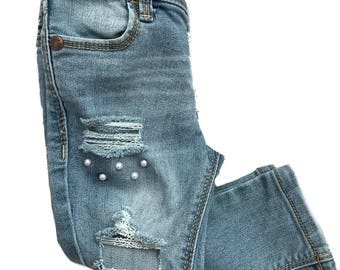 Poppy Threads, Distressed denim, Distressed jeans, shredded jeans, bling jeans, girls jeans, baby jeans, Pearl jeans,