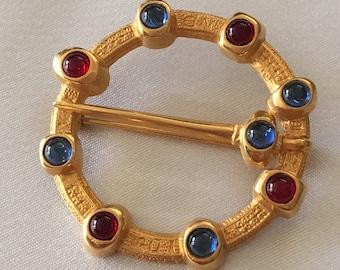 Gold red blue brooch