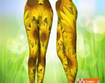Sunflower leggings, Spring Leggings, Flower leggings, Yellow Leggings, Funky Leggings