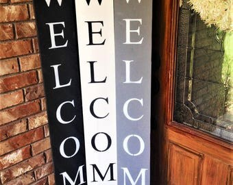WELCOME SIGN WOOD Black and white Grey Wood welcome sign front & WELCOME SIGN RUSTIC Wood welcome sign front door welcome Pezcame.Com