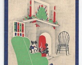 "On Sale 1950s Cozy Vintage Christmas Card ""Cheerio"""