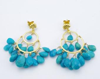 Vintage 18K Yellow Gold Turquoise Fringe Earrings
