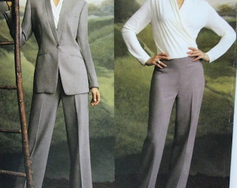 Vogue Anne Klein American Designer Sewing Pattern # 2759, Jacket, Top, Pants, Suit, Size 12-14-16, Uncut Factory Folds, 34-38 Bust 36-40 Hip