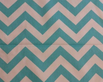 Home decor fabric, turquoise & white chevron, fabric, fabric remnant, chevron, turquoise chevron, Premier Prints Zigzag Girly Blue Twill
