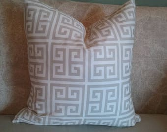 Taupe pillow cover, taupe and white, pillow cover, Greek key, decorative pillow, accent pillow, throw pillow, home decor, neutral