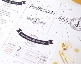 Dotty Nautical Wedding Invites