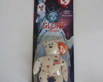 Patriotic plush/Ty Glory the Bear Beanie Baby by McDonald's Ronald McDonald House Charities/Unopened box/NIB/Independence Day
