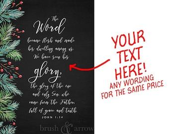 Custom digital artwork, chalkboard style, your custom text