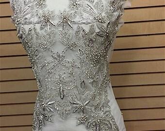 Designer Full body Rhinestone Applique, Beaded Wedding Dress Applique. Swarovski Shine Silver, Czech Crystal # 81191