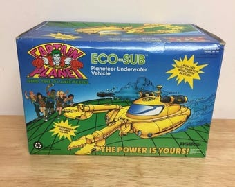 Tiger Toys Captain Planet Eco-Sub Underwater Vehicle, Vintage With Box, 1991!