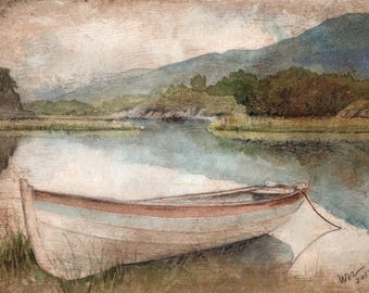 Watercolor Print - Upper Lake, Killarney - Archival Print - landscape - Ireland Art