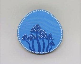 Mushroom Magnet Blue Spots Polka Dot Mushrooms Gift Eco Wood Art Hand Painted Wood Slice Home Decor Handmade Mini Artwork Kitchen Decor