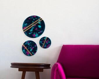 Wall decor round original painting trio, acrylic on wood