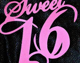 Sweet 16 Pink Glitter Die Cut
