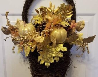 Fall wreath / autumn wreath/ door wreath/housewarming wreath/front door wreath F-02