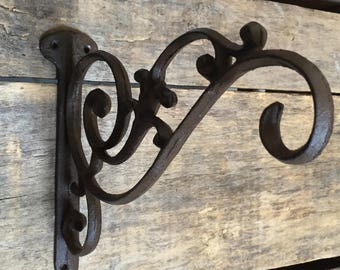 Decorative Large Planter Hook, Rustic Cast Iron Wall Hook, Heavy Duty Wall Hook