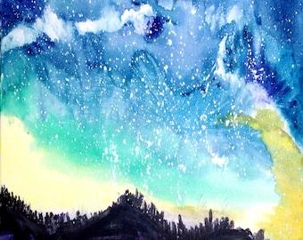 downloadable watercolor print, night sky