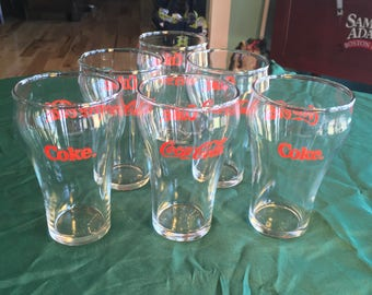 Vintage Coca Cola Red Script Drinking Glasses - Set of 6