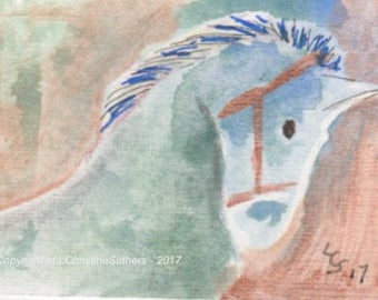 Horse of a Different Colour – Mixed Media – ACEO Original