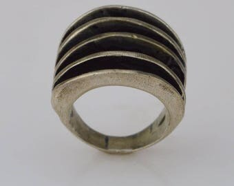 Sterling Silver 925 Mid Century Modern Abstact Ring Size 9(01542)