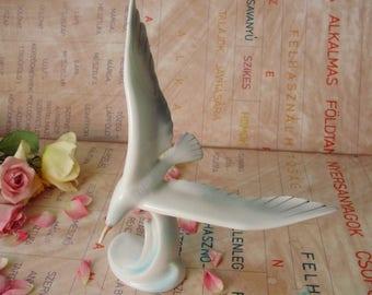 Large Vintage Hungarian Hollohaza porcelain bird figurine,seagull, handpainted
