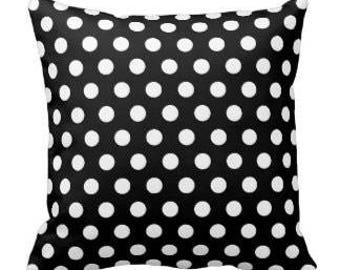 Black/White Polka Dot Throw Pillow