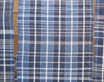 Vintage kasuri fabric, futon cover, futonji, Japanese hand dyed indigo cotton, hand woven shima striped kasuri, blue and white ikat textiles
