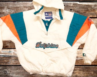 RARE Vintage 90s Miami Dolphins Starter White Pullover Jacket Size L For Fans of The Phins, Vintage Miami, Vintage Jackets, or the 1990s