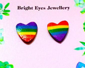 Love Heart Rainbow Stud Earrings
