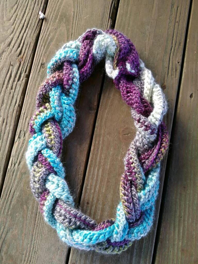 Braided Cowl Braided Infinity Scarf Wool Acrylic Blend Scarf