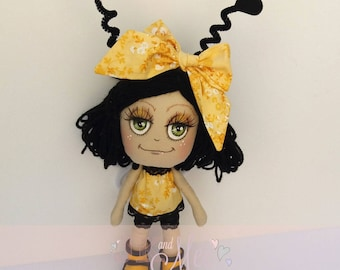 Bernadette Bumble, Cute bee inspired, collectable cloth art doll