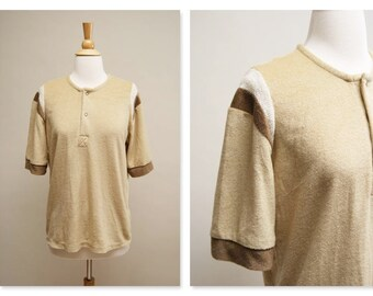 1970s Brown Skater Shirt ⎮ Vintage 70s Terry T Shirt ⎮ Short Sleeve Grunge Boho Top