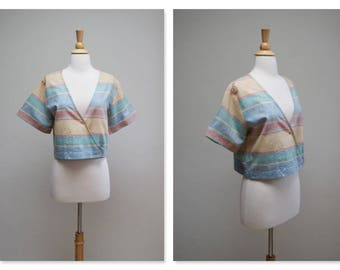 Vintage 90s Crop Top ⎮ Vintage 1990s Hipster Blouse ⎮ Striped Pastel Preppy Top