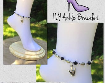 New Arrival!  ILY Ankle Bracelet with Glack Crystal Beads and Silver Embossed Beads