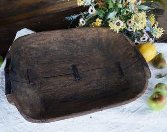 Antique Dough Bowl Wooden dough bowl Primitive antique home decor Country wood bowl Dark brown bread bowl Rustic decor Hand carved bowl